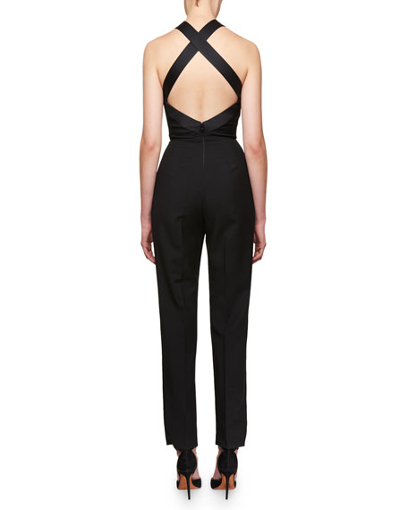 Pleated Cross-Back Halter Jumpsuit