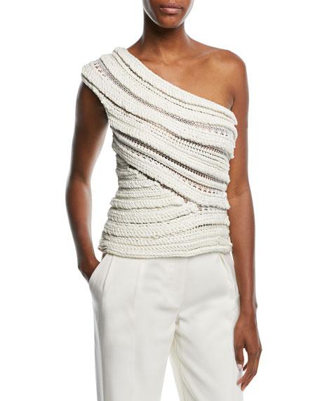 One-Shoulder Textured Knit Top
