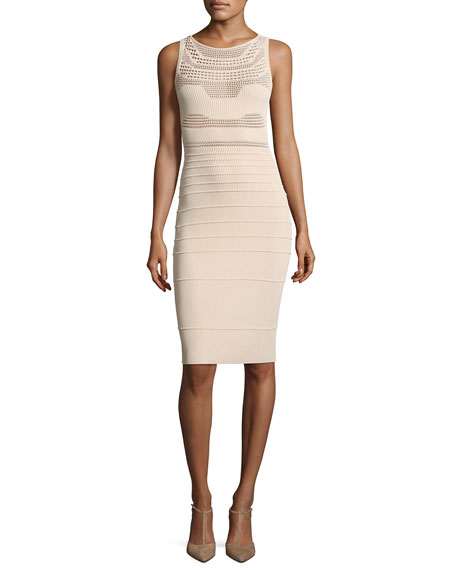 Round-Neck Sleeveless Fitted Open-Weave Knit Dress