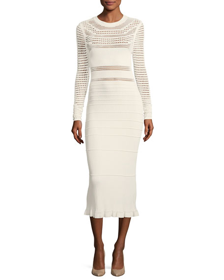 Round-Neck Long-Sleeve Open-Weave Knit Midi Dress