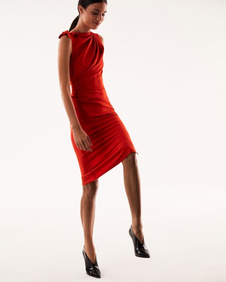 High-Neck Sleeveless Draped Side Slim-Fit Dress
