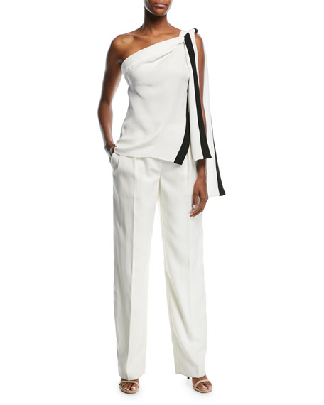 Mid-Rise Wide-Leg Wool Pants