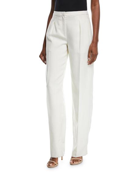 Mid-Rise Wide-Leg Wool Pants