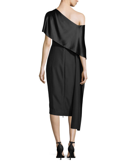 One-Shoulder Asymmetric-Sash Dress