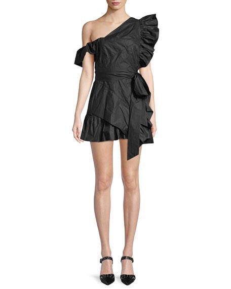 Malvern Asymmetric-Neck Side-Ruffle Cotton Mini Dress