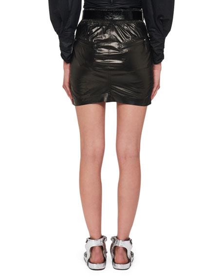 Amel Shiny Silk Side Ruched Mini Skirt