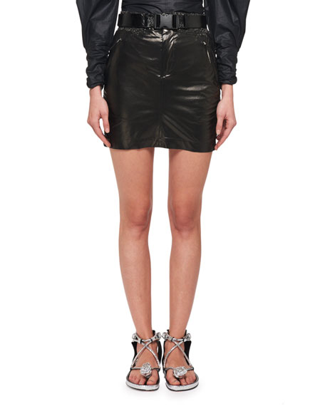 Isabel Marant Amel Shiny Silk Side Ruched Mini