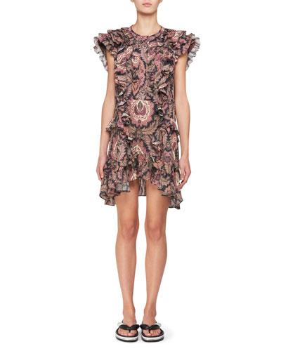 Xanity Sleeveless Ruffled Cotton Mini dress with Grommet Trim