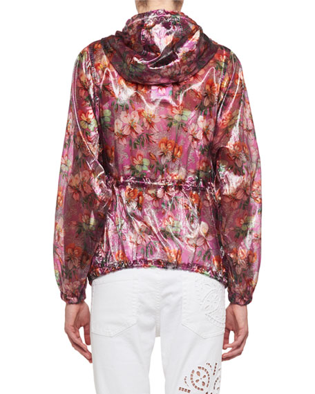 Olaz Hawaiian-Print Sheer Pullover Hooded Anorak Jacket