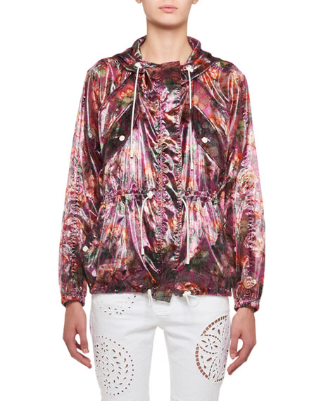 Isabel Marant Olaz Hawaiian-Print Sheer Pullover Hooded Anorak