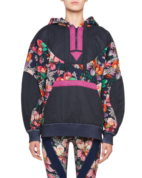 Isabel Marant Zansel Hawaiian-Print Oversized Hooded Sweatshirt
