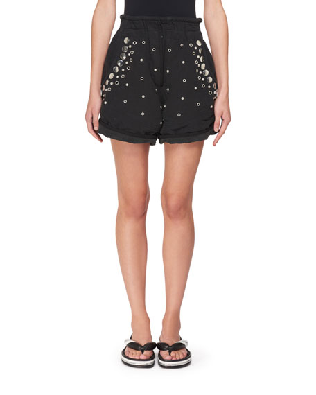 Isabel Marant Paperbag-Waist Cotton Shorts with Studs &