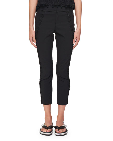 Jobi Skinny-Leg Pants with Circle-Beaded Side Tux Detail