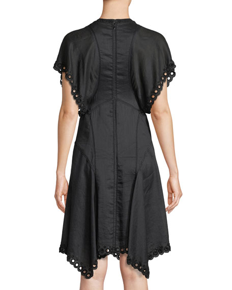 Gabe Beaded Circle-Embroidered Fit-and-Flare Dress