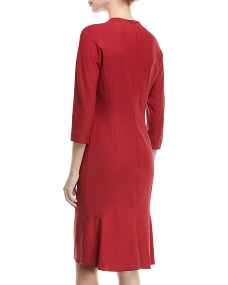 V-Neck 3/4-Sleeve Wool Dress with Flounce Hem