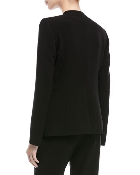 Open-Front No Collar Long-Sleeve Crepe Jacket