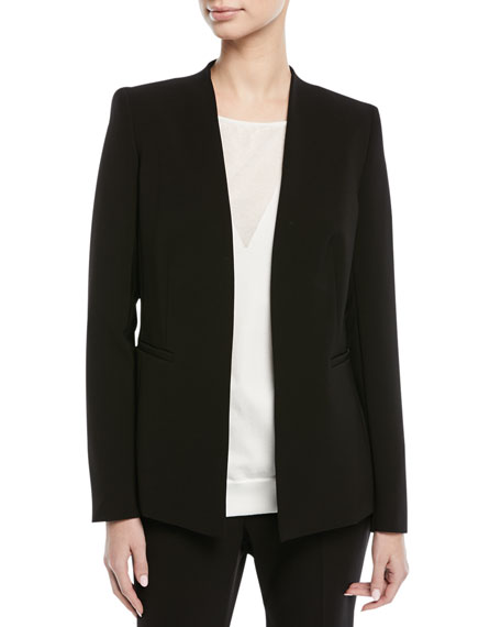 Escada Open-Front No Collar Long-Sleeve Crepe Jacket