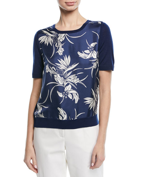 Escada Short-Sleeve Floral-Print Silk Front & Knit Back