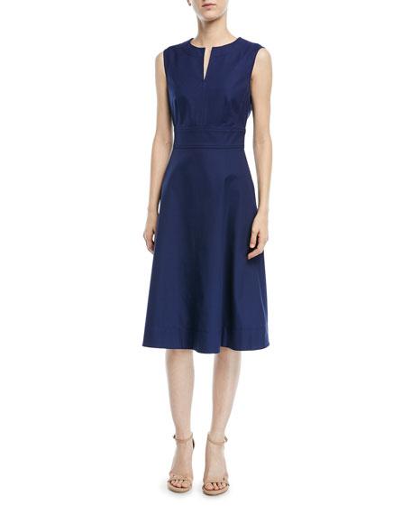 Escada Sleeveless V-Neck Fit-and-Flare Cotton Pique Dress