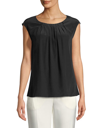 Cap-Sleeve Pleated Round-Neck Silk Blouse