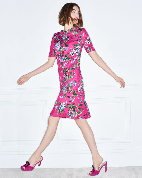 Elbow-Sleeve Floral-Print Jacquard A-Line Dress