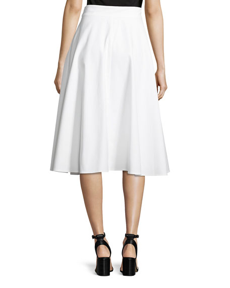 Snap-Front Cotton Pique Midi Skirt