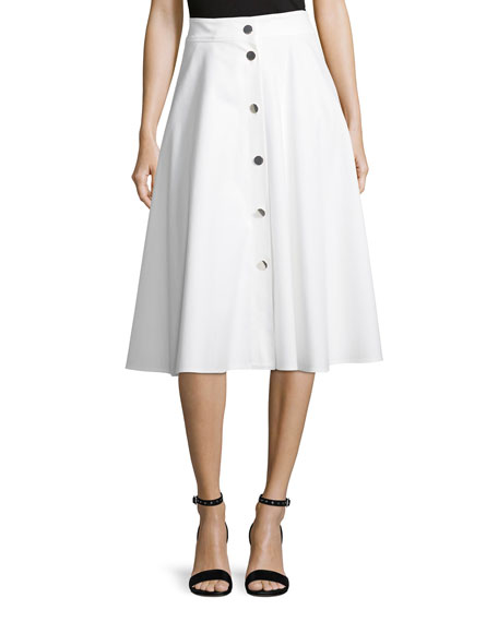 Escada Snap-Front Cotton Pique Midi Skirt