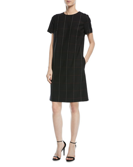 Escada Grid-Stitch Short-Sleeve Chemise Dress