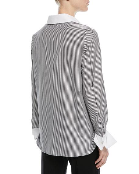 Striped Button-Front Long-Sleeve Cotton Poplin Shirt
