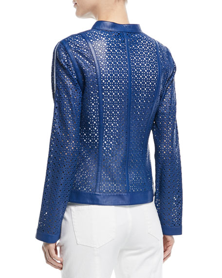 Zip-Front Laser-Lace Leather Jacket