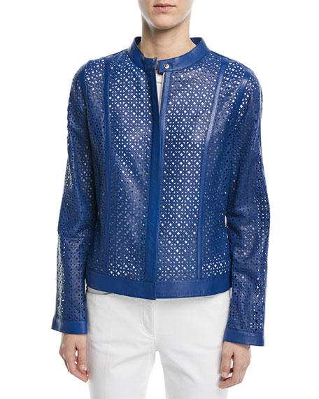 Escada Zip-Front Laser-Lace Leather Jacket