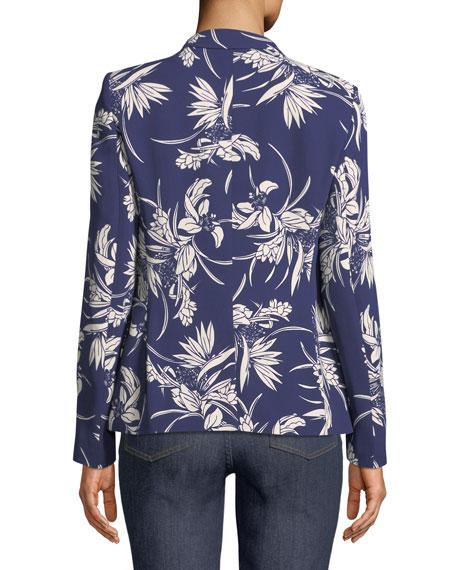 Tropical-Print One-Button Blazer