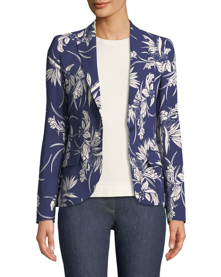 Escada Tropical-Print One-Button Blazer