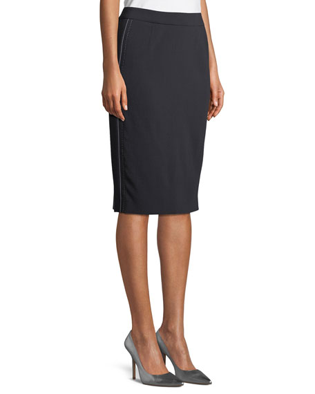 Side-Stitch Pencil Wool-Blend Knee-Length Skirt