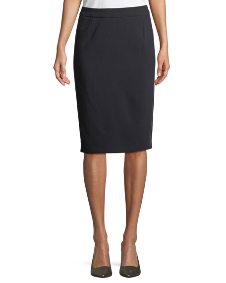 Escada Side-Stitch Pencil Wool-Blend Knee-Length Skirt