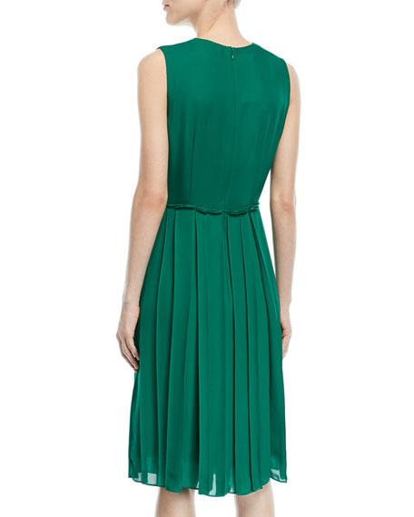V-Neck Sleeveless Pleated Silk Dress