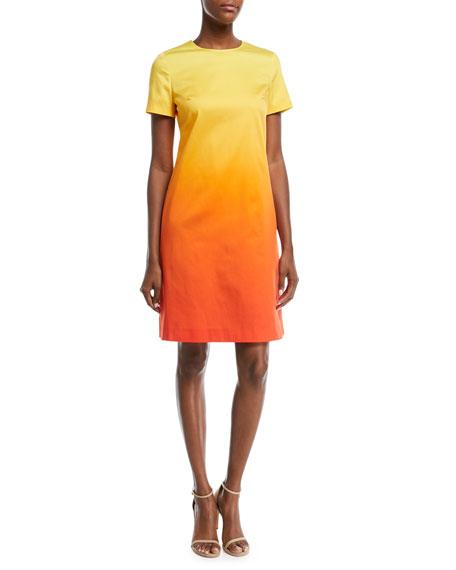 Crewneck Short-Sleeve A-Line Degrade Cotton Dress