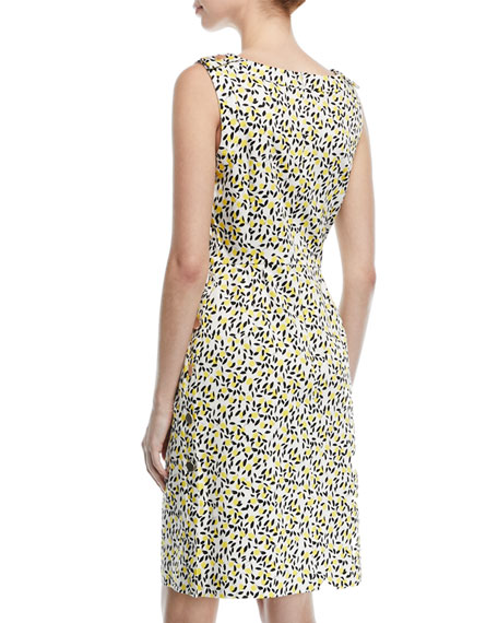 Sleeveless Side-Button Lemon-Print A-Line Dress