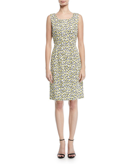 Escada Sleeveless Side-Button Lemon-Print A-Line Dress and