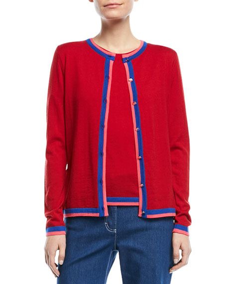Escada Crewneck Button-Front Long-Sleeve Wool Cardigan and