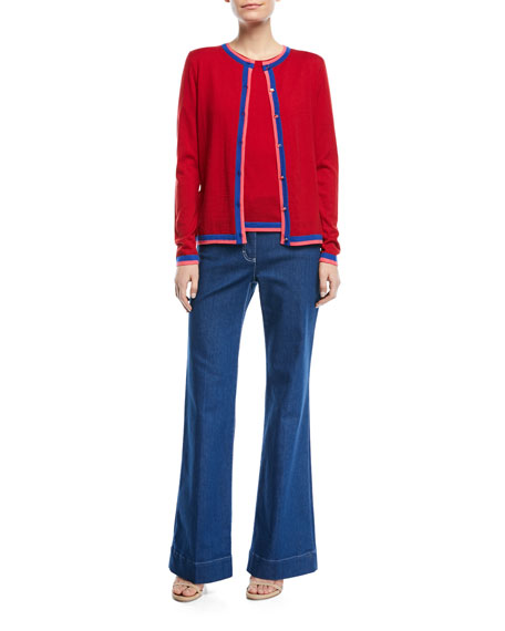 Mid-Rise Wide-Leg Jeans with Contrast Topstitching