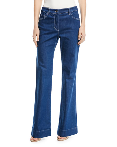 Escada Mid-Rise Wide-Leg Jeans with Contrast Topstitching
