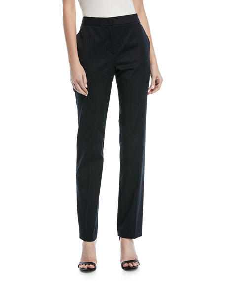 Escada Turanu Broken-Stripe Straight-Leg Pants