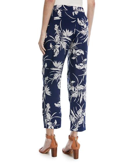 Tullula Tropical-Print Straight-Leg Silk Pants