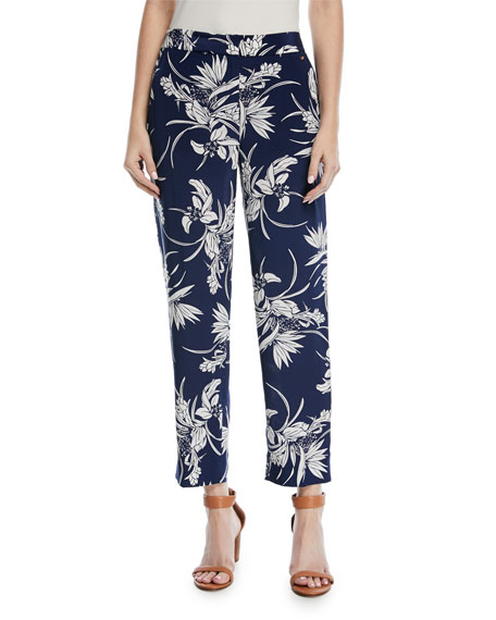 Escada Tullula Tropical-Print Straight-Leg Silk Pants