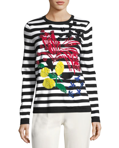 Escada Embellished Long-Sleeve Striped Wool Pullover Sweater