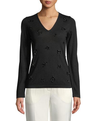 Long-Sleeve V-Neck Embellished Knit Top