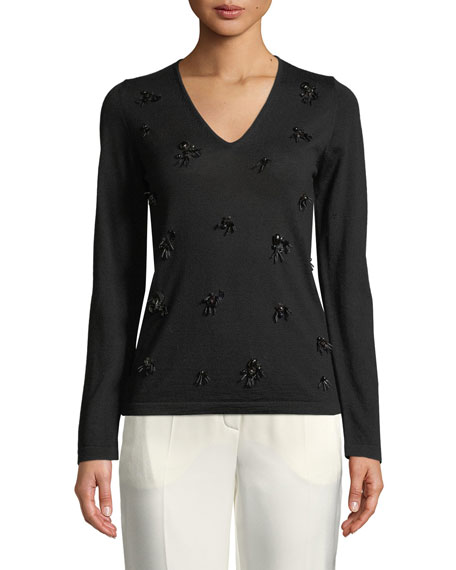 Escada Long-Sleeve V-Neck Embellished Knit Top