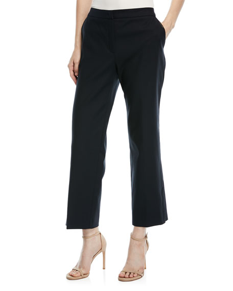Escada Tindas Wide-Leg Cropped Twill Pants