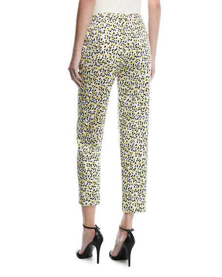 Mid-Rise Straight-Leg Lemon-Print Ankle Pants